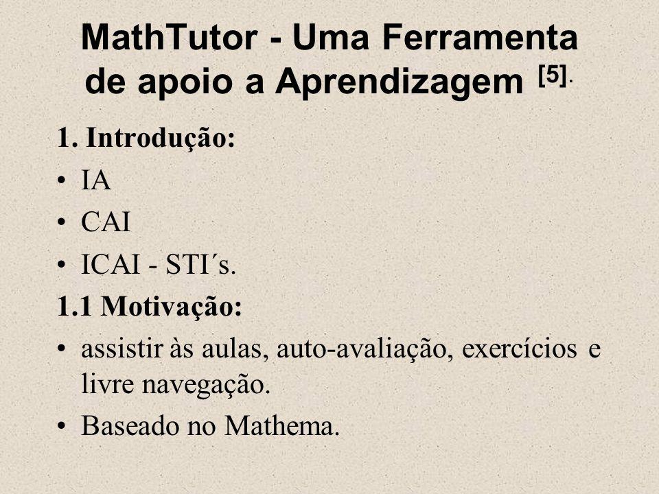 MathTutor - Uma Ferramenta de apoio a Aprendizagem [5].